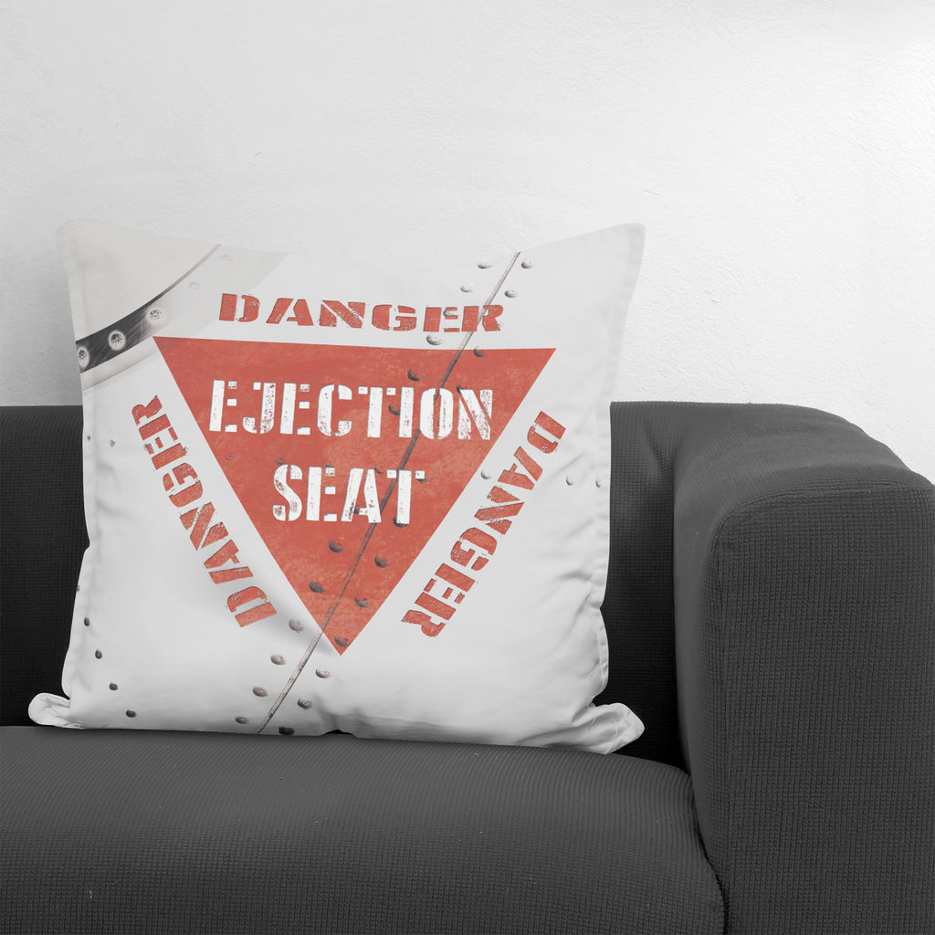 Danger Ejection Seat Throw Pillow