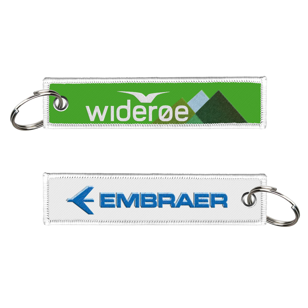 Wideroe Embraer Embroidered Keyring
