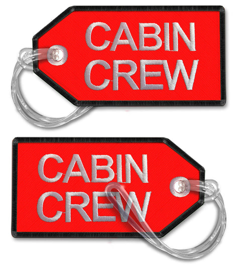 CABIN CREW-BagTag (Red with BLACK trim LARGE)