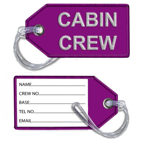 Cabin Crew-Embroidered Tag-DARK PINK