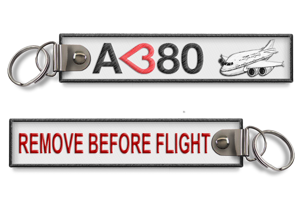 I Love A380 - Remove before flight key ring