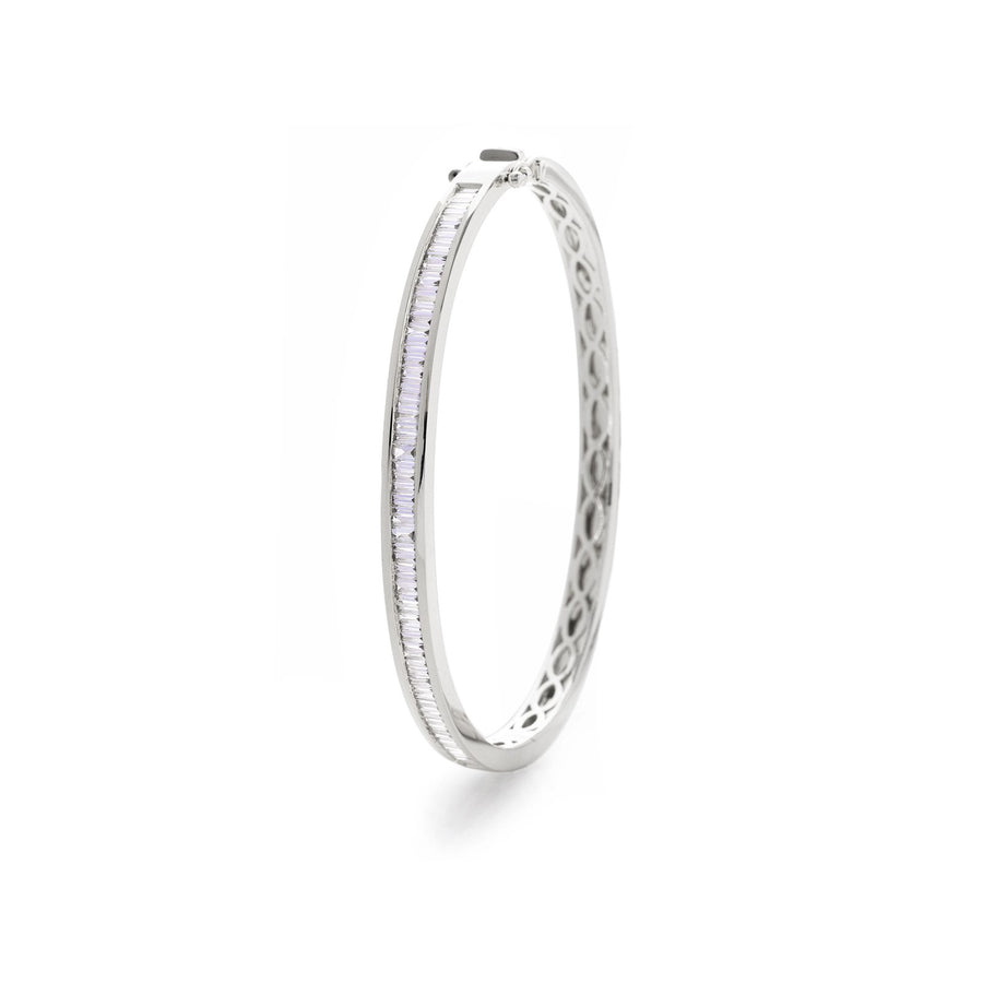 Baguette Diamond Half Set Channel Bangle Bracelets | Shirin Uma