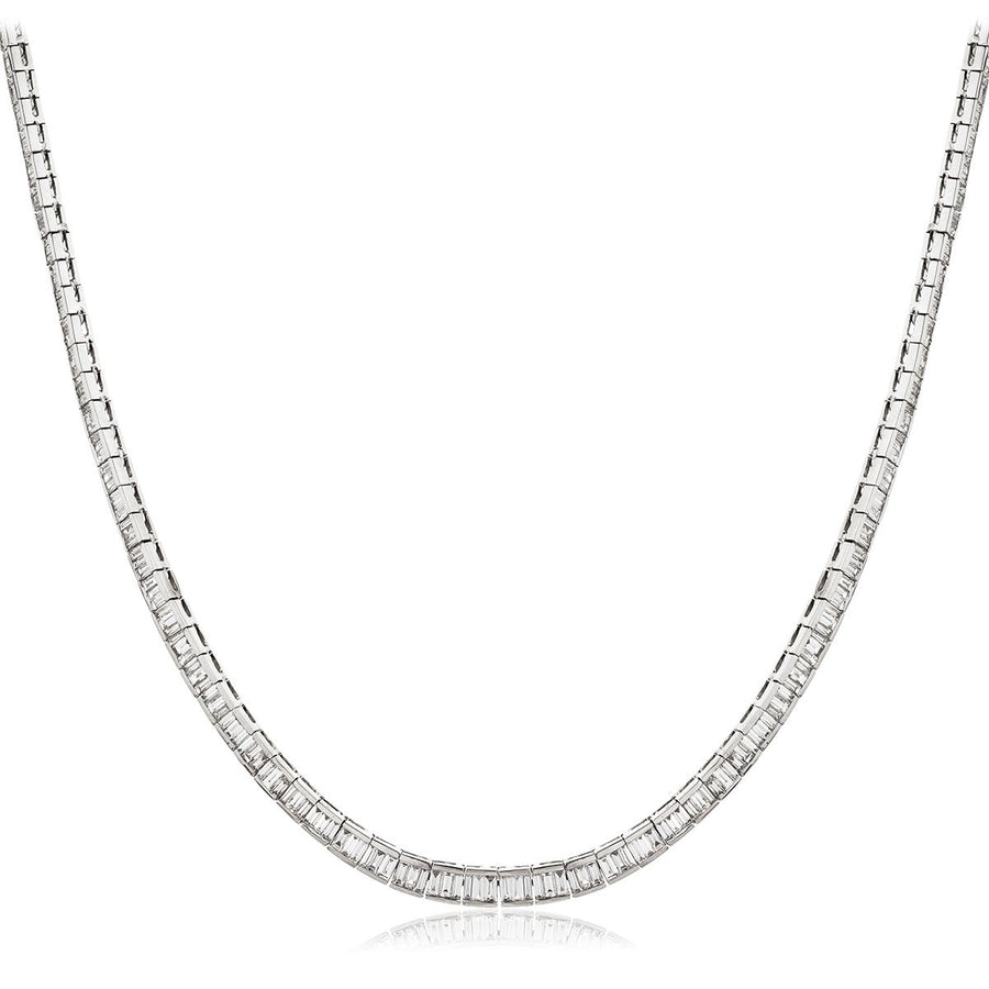 Baguette Diamond Tennis Necklace in 18k White Gold | Shirin Uma