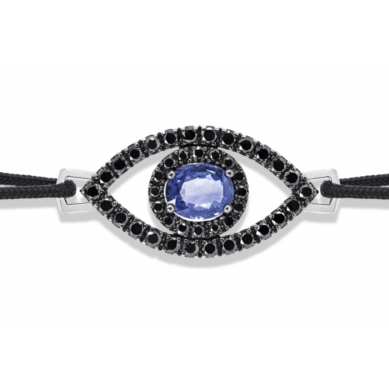 Eye of Protection - Ceylon Sapphire & Black on Black Diamond Bracelet | Shirin Uma