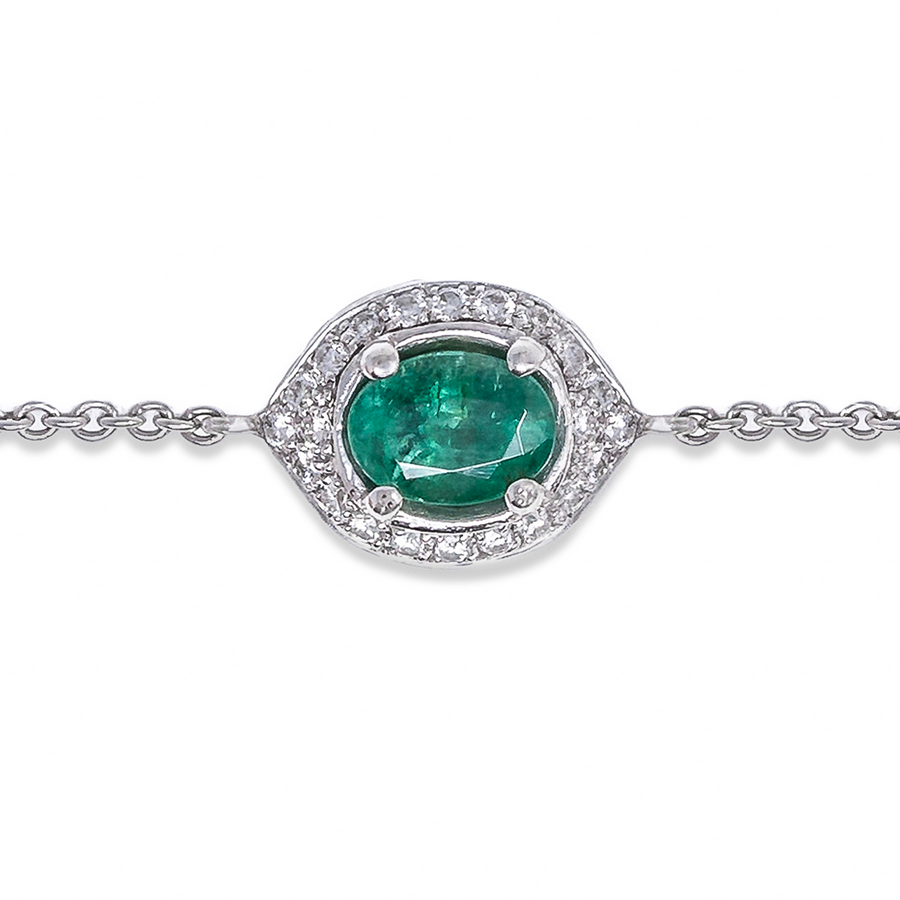 Eye of Protection - Emerald & Diamond Charm Bracelet | Shirin Uma
