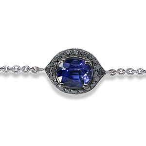 Eye of Protection - Sapphire & Black on Black Diamond Charm Bracelet | Shirin Uma