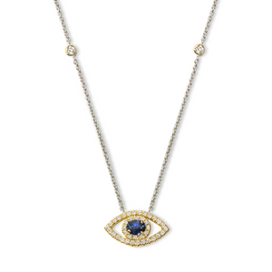 Eye of Protection - Sapphire & Diamond Two-Tone Necklace | Shirin Uma