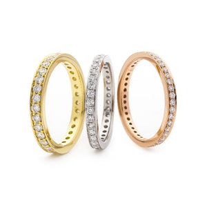 Grain Set Diamond Eternity Rings in White, Yellow and Rose Gold | Shirin Uma