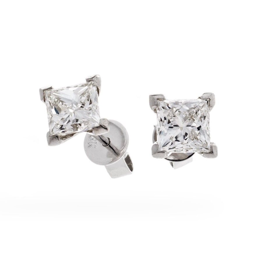 Princess Diamond Prong Set Solitaire Stud Earrings in 18k White Gold | Shirin Uma