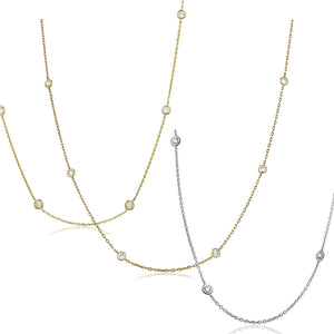 "Round Brilliant Diamond Chain Necklace 16"" - Demi 
