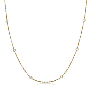 "Round Brilliant Diamond Chain Necklace 18"" - Petite in 18k Rose Gold 