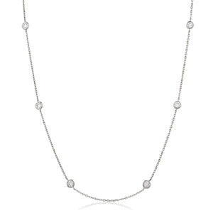 "Round Brilliant Diamond Chain Necklace 18"" - Demi in 18k White Gold 