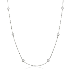 "Round Brilliant Diamond Chain Necklace 18"" - Petite in 18k White Gold 