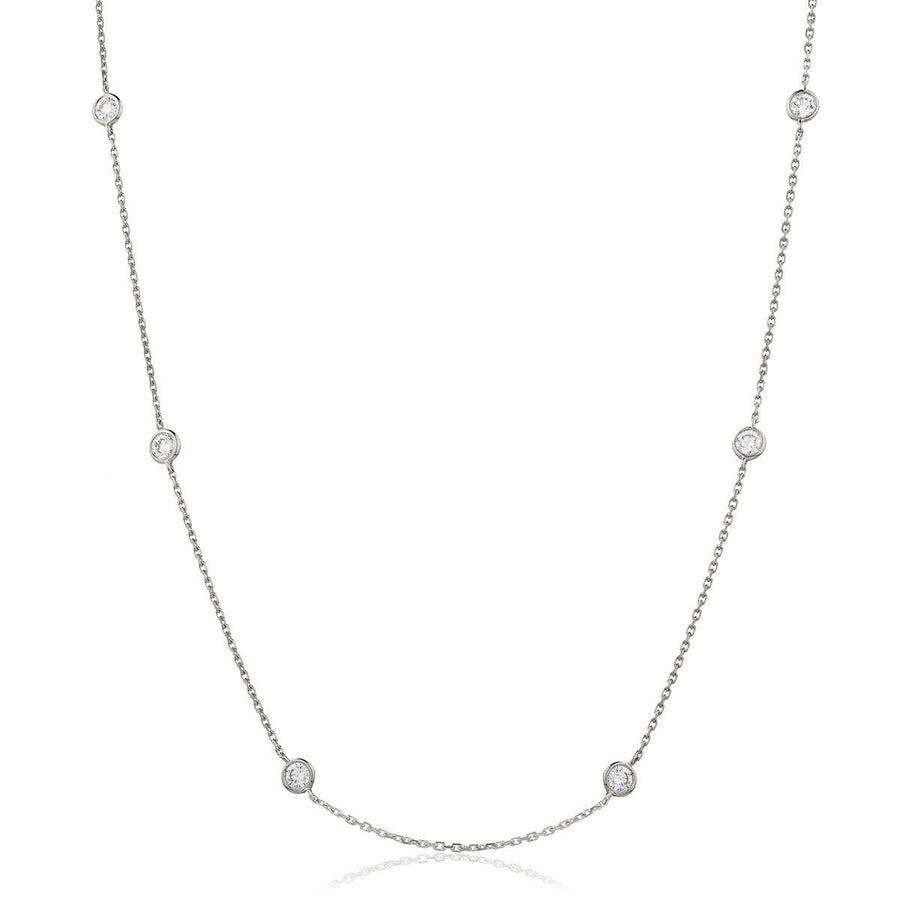 "Round Brilliant Diamond Chain Necklace 18"" - Petite 