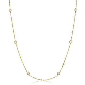 "Round Brilliant Diamond Chain Necklace 18"" - Petite in 18k Yellow Gold 