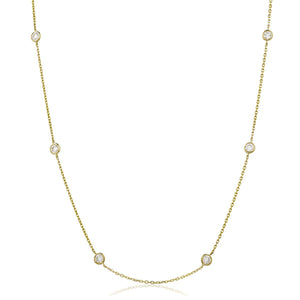 "Round Brilliant Diamond Chain Necklace 18"" - Demi in 18k Yellow Gold 