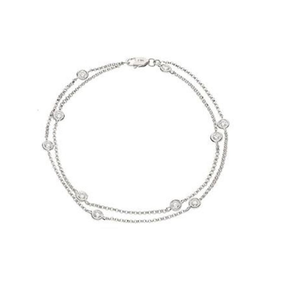 Round Brilliant Diamond Double Chain Bracelet | Shirin Uma