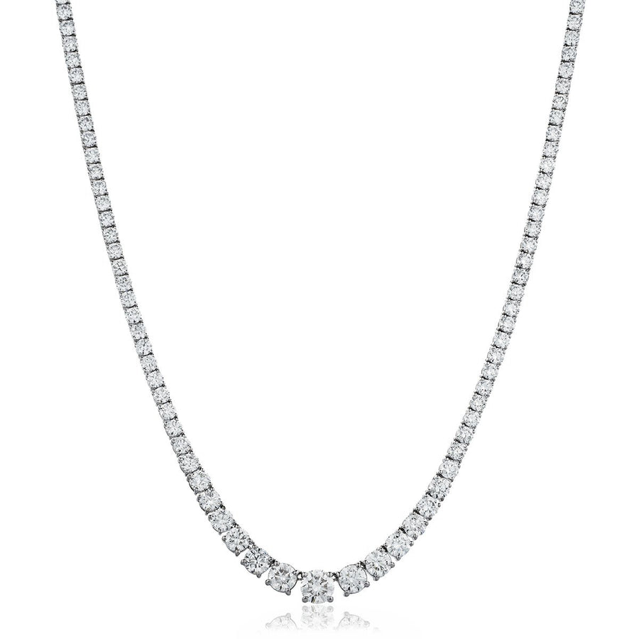Round Brilliant Diamond Graduated Tennis Necklace in 18k White Gold | Shirin Uma