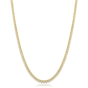Round Brilliant Diamond Half Bezel Tennis Necklace in 18k Yellow Gold | Shirin Uma