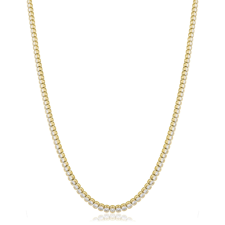 Round Brilliant Diamond Half Bezel Tennis Necklace in 18k White Gold | Shirin Uma