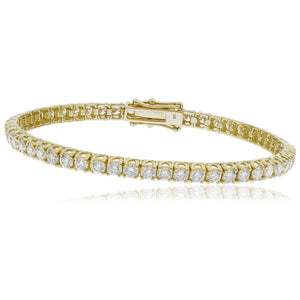 Round Brilliant Diamond Overlapping Claw Tennis Bracelet in 18k Yellow Gold | Shirin Uma