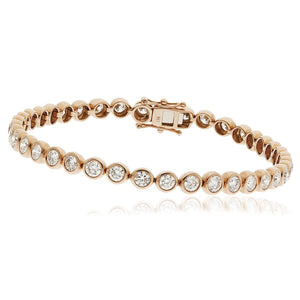 Round Brilliant Diamond Rubover Tennis Bracelet in 18k Rose Gold | Shirin Uma