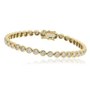 Round Brilliant Diamond Rubover Tennis Bracelet in 18k Yellow Gold | Shirin Uma