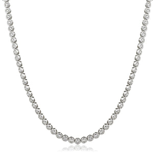 Round Brilliant Diamond Rubover Tennis Necklace in 18k White Gold | Shirin Uma