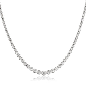Round Brilliant Diamond Graduated Rubover Tennis Necklace in 18k White Gold | Shirin Uma