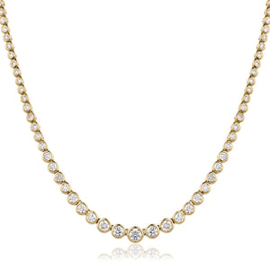 Round Brilliant Diamond Graduated Rubover Tennis Necklace in 18k Yellow Gold | Shirin Uma