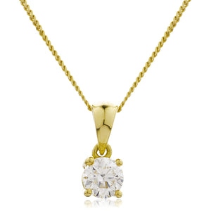 Round Diamond Basket Set Solitaire Pendant in 18k Yellow Gold | Shirin Uma