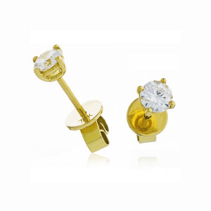Round Diamond Basket Set Solitaire Stud Earrings in 18k Yellow Gold | Shirin Uma