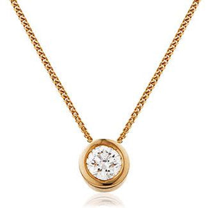 Round Diamond Bezel Set Solitaire Pendant in 18k Rose Gold | Shirin Uma