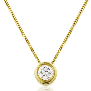 Round Diamond Bezel Set Solitaire Pendant in 18k Yellow Gold | Shirin Uma