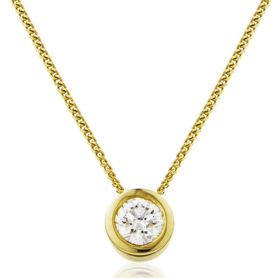 Round Diamond Bezel Set Solitaire Pendant in 18k White Gold | Shirin Uma