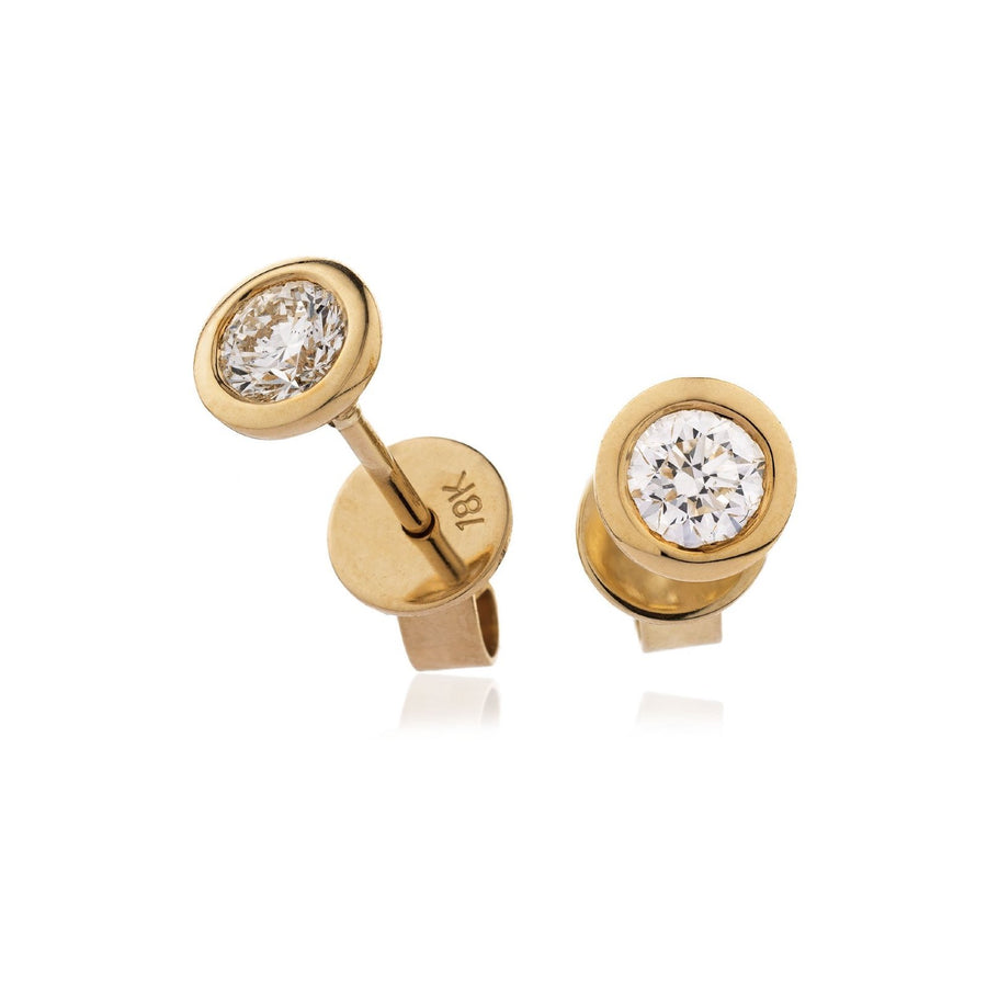 Round Diamond Bezel Set Solitaire Stud Earrings in 18k White Gold | Shirin Uma