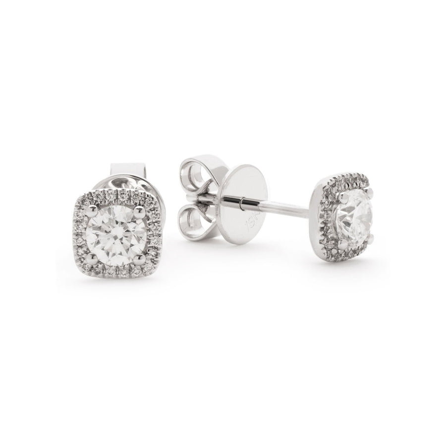 Round Diamond Cushion Halo Stud Earrings in 18k White Gold | Shirin Uma