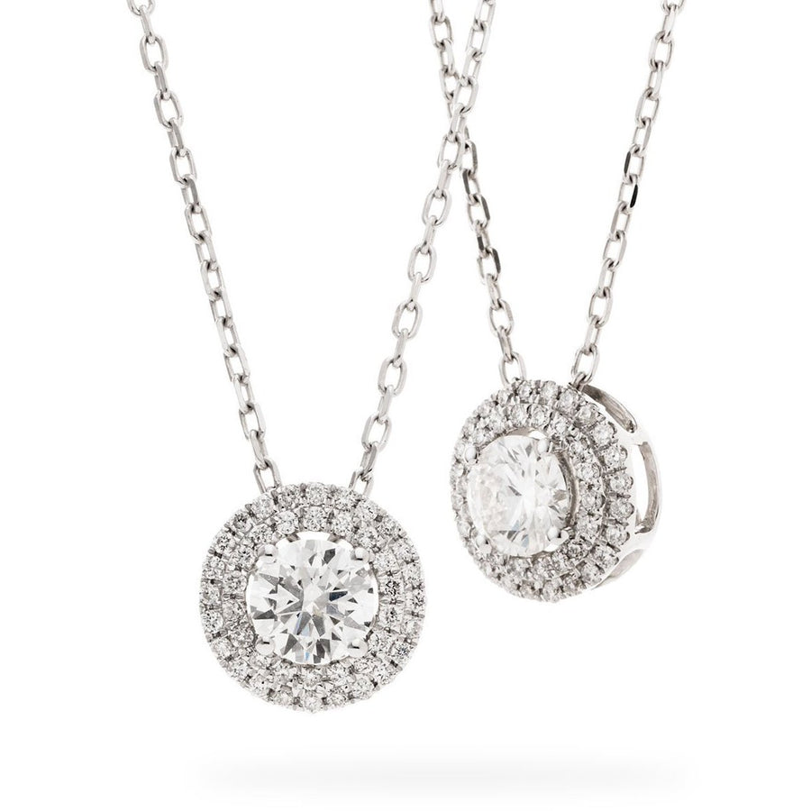Round Diamond Double Halo Necklace | Shirin Uma