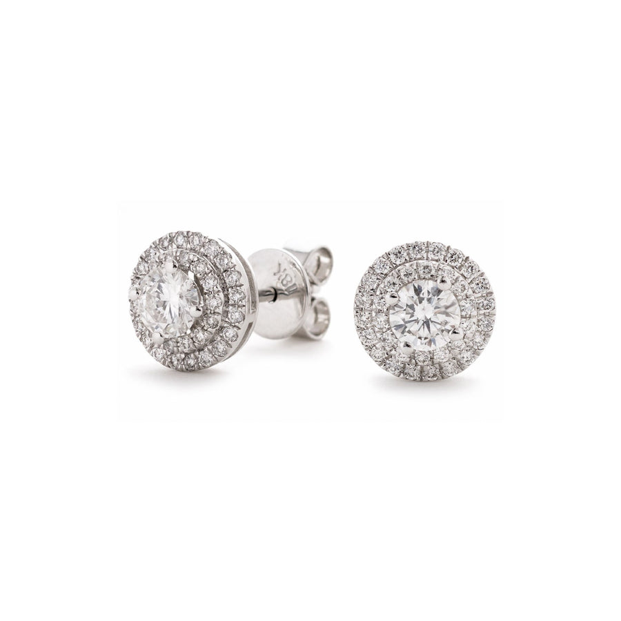 Round Diamond Double Halo Stud Earrings | Shirin Uma