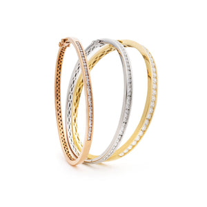 Round Diamond Half Set Channel Bangle Bracelets | Shirin Uma