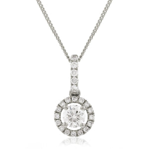 Round Diamond Halo Drop Pendant in White Gold | Shirin Uma