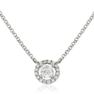 Round Diamond Halo Necklace in White Gold | Shirin Uma