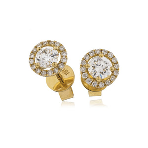 Round Diamond Halo Stud Earrings in 18k Rose Gold | Shirin Uma