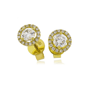 Round Diamond Halo Stud Earrings in 18k Yellow Gold | Shirin Uma