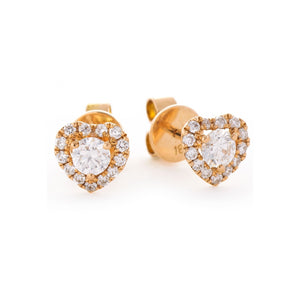Round Diamond Heart Halo Stud Earrings in 18k Rose Gold | Shirin Uma