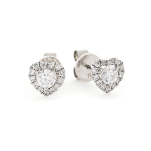 Round Diamond Heart Halo Stud Earrings in 18k White Gold | Shirin Uma