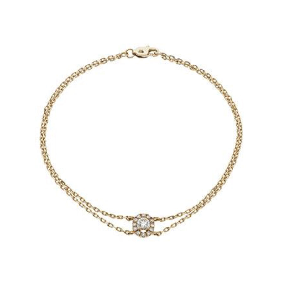 Round Diamond Oval Halo Bracelet in 18k White Gold | Shirin Uma