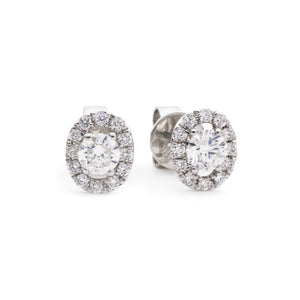 Round Diamond Oval Halo Stud Earrings | Shirin Uma