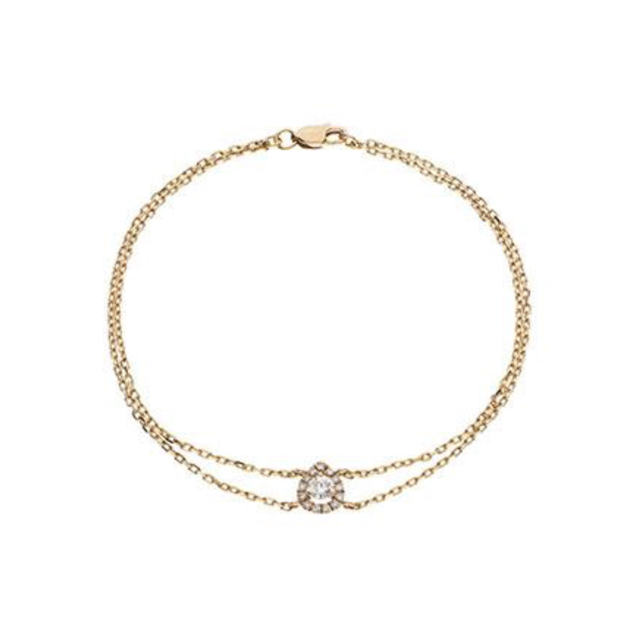 Round Diamond Pear Halo Bracelet in 18k White Gold | Shirin Uma