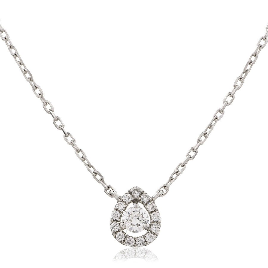 Round Diamond Pear Halo Necklace | Shirin Uma